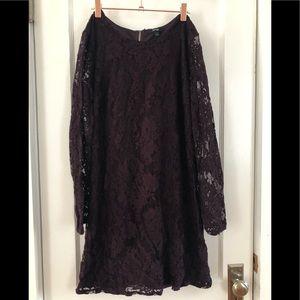 Formal Lace Maroon Sheer Dress